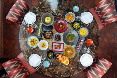 coya dubai iftar spread aerial view