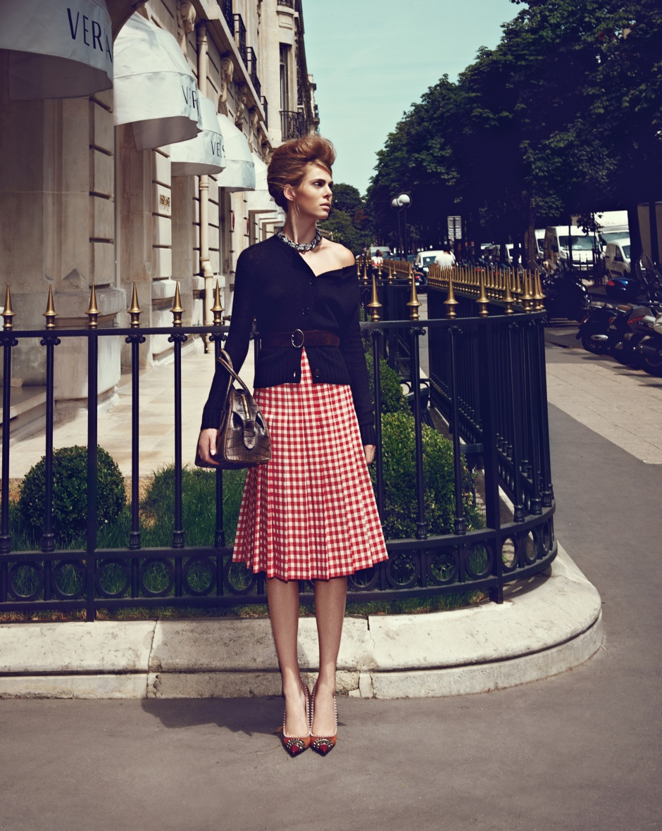 Cardigan, skirt, belt, and bag by PRADA Necklace by Chanel Shoes by christian louboutin