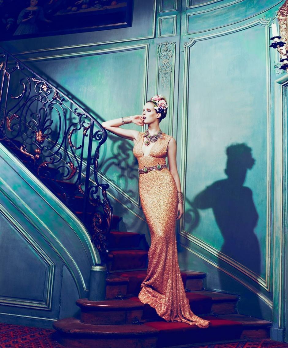 Dress by Elie Saab; Necklace, belt, and bracelet by Prada; Cuffs by Valentino; Bracelet by Christian Dior; Necklace (under) by Nina Ricci