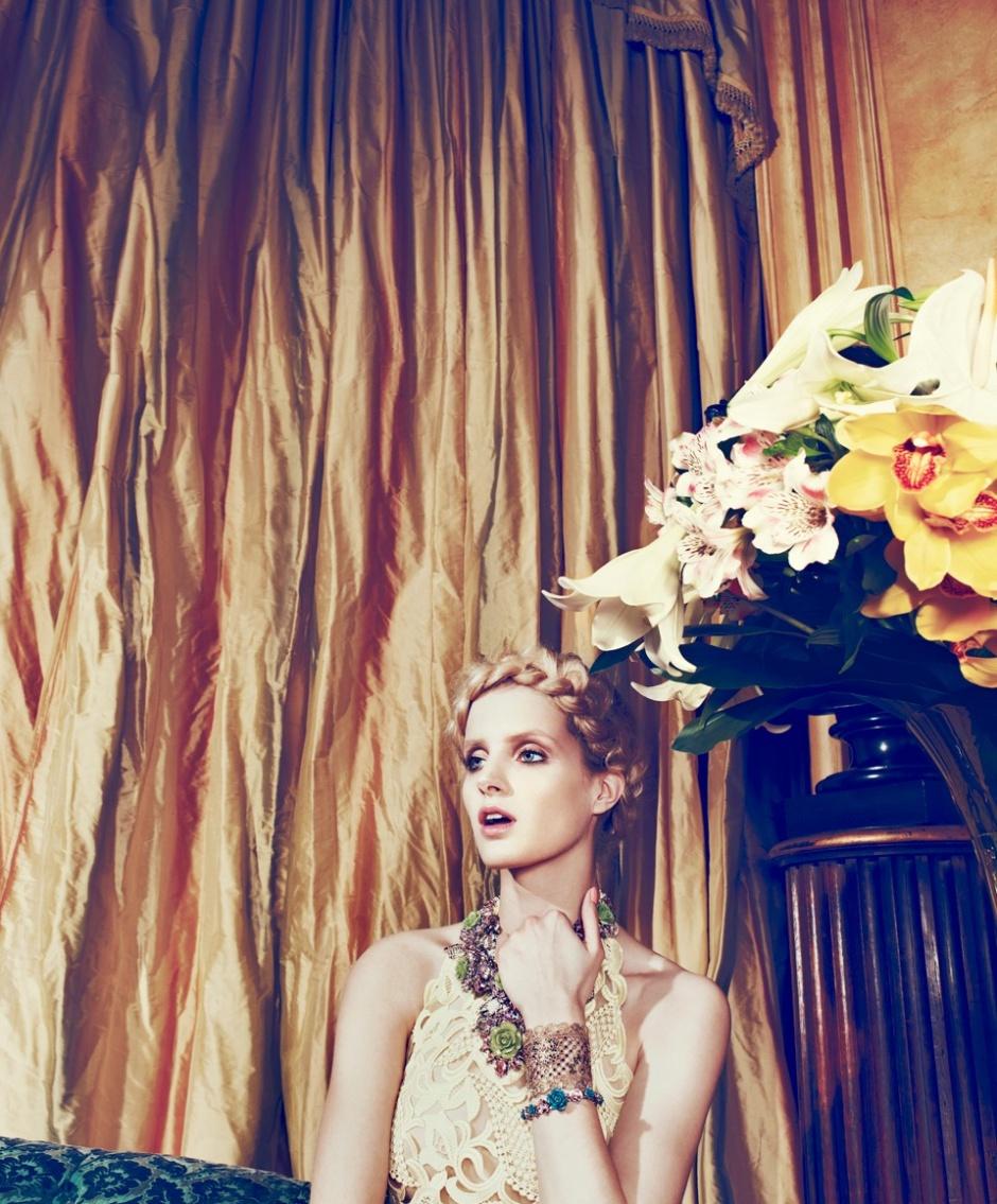 Dress by Valentino; Necklace and bracelet by Prada; Cuff by Valentino; Necklace (under) by Nina Ricci