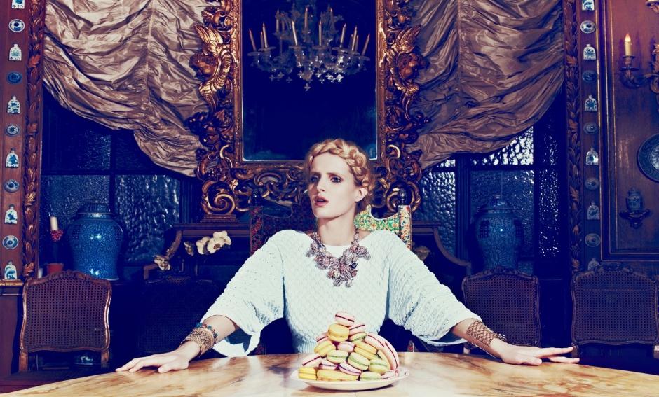 Dress by Chanel; Cuffs by Valentino; Bracelet by Prada; Necklace by Nina Ricci
