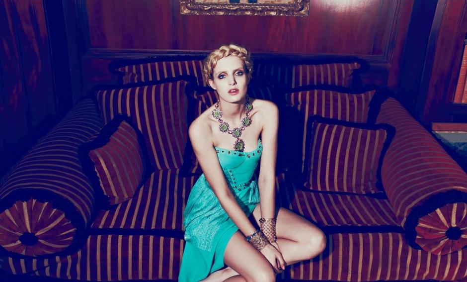 Dress by Versace; Necklace and bracelet by Prada; Bracelet by Christian Dior; Cuffs by Valentino