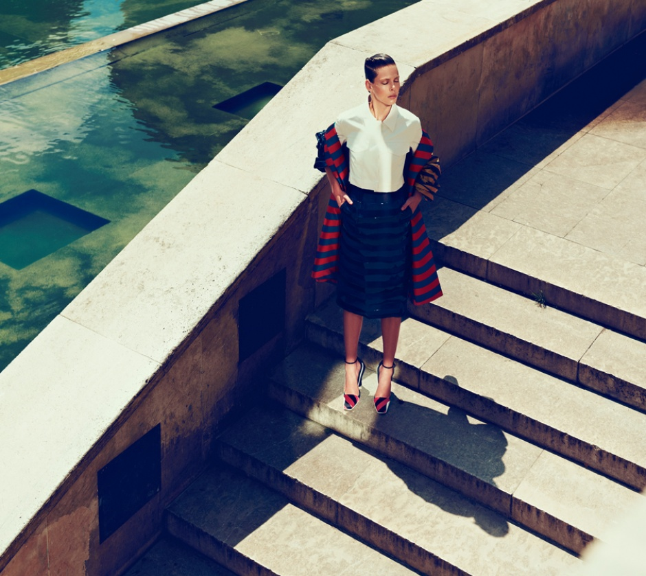 Top, skirt, coat, and shoes by DIOR haute couture