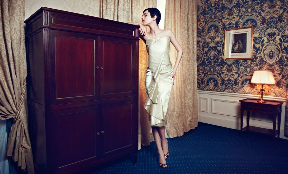 Dress by Anne Valerie Hash Shoes by Christian Louboutin