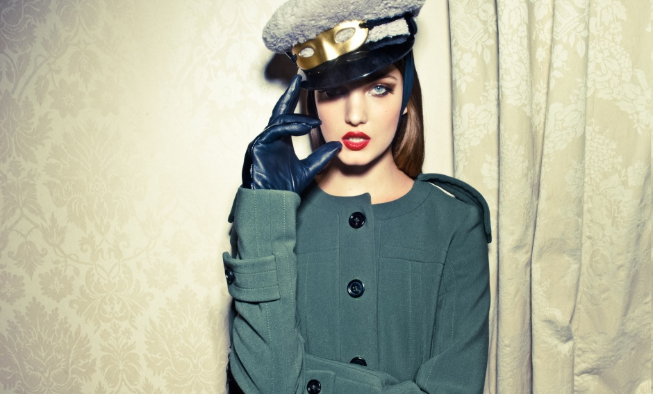 Coat by BURBERRY; gloves, hat, and mask by LOUIS VUITTON