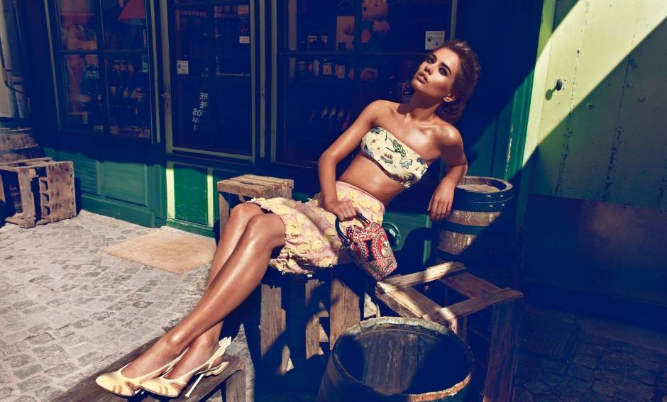 Top, skirt, and shoes by PRADA; Bag by MIU MIU