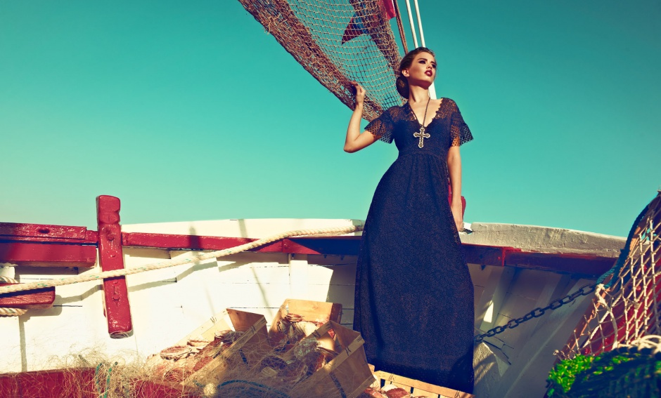 Dress by VALENTINO; Necklace by LANVIN