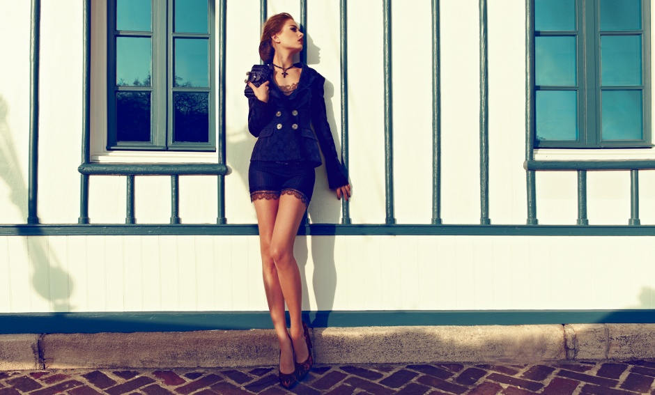 Top, shorts, jacket, bag, and necklace by EMILIO PUCCI; Shoes by WALTER STEIGER