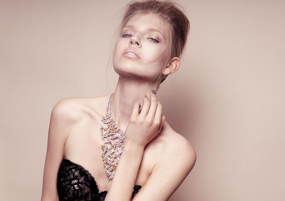 Dress by BOTTEGA VENETA; Necklace by BOUCHERON