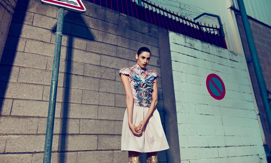 Dress and leggings by manish arora