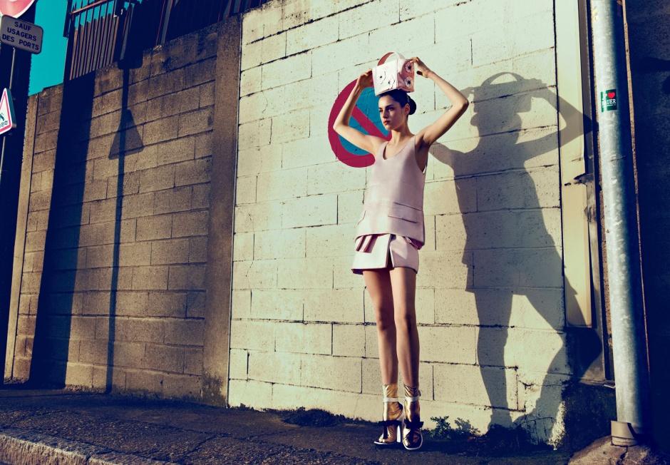 Top, skirt, bag, socks, and shoes by PRADA