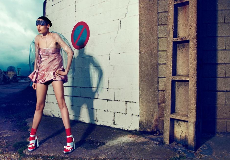 Dress by DIOR Coat by Amaya Arzuaga Mask by Peachoo + Krejberg Socks and shoes by Prada