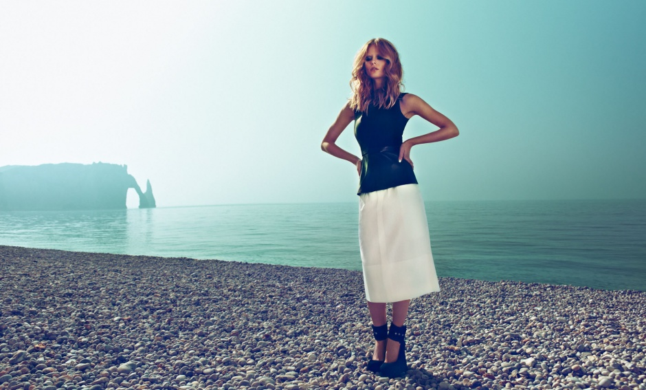 Top, skirt, and shoes by Celine