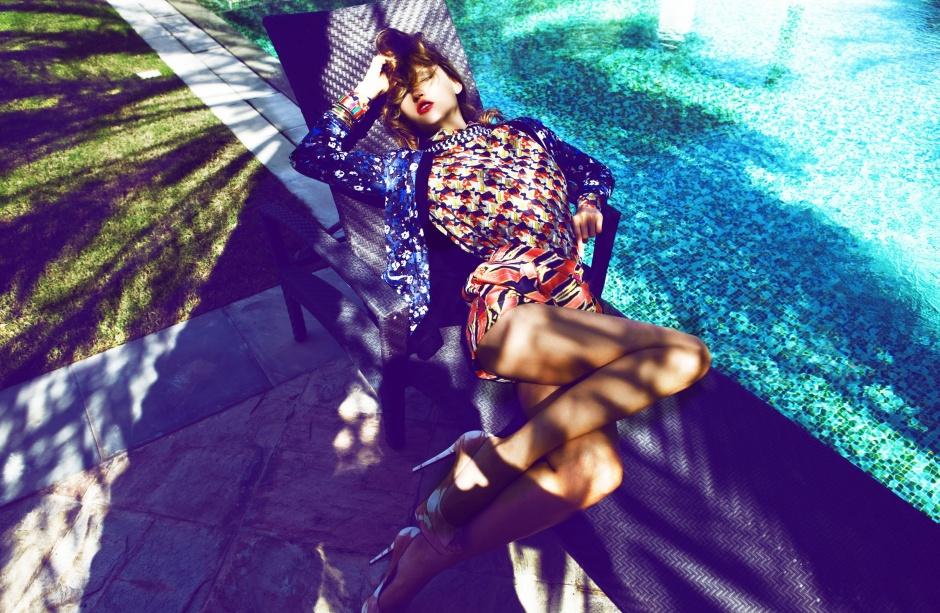 Silk shorts, Tibi at Saks Fifth Avenue Shirt, Balenciaga Knit, Markus Lupfer at Boutique1 Necklace, Missoni Bracelets (set of 5), Adia Kibli at Saks Fifth Avenue Peep-toe shoes, Christian Louboutin