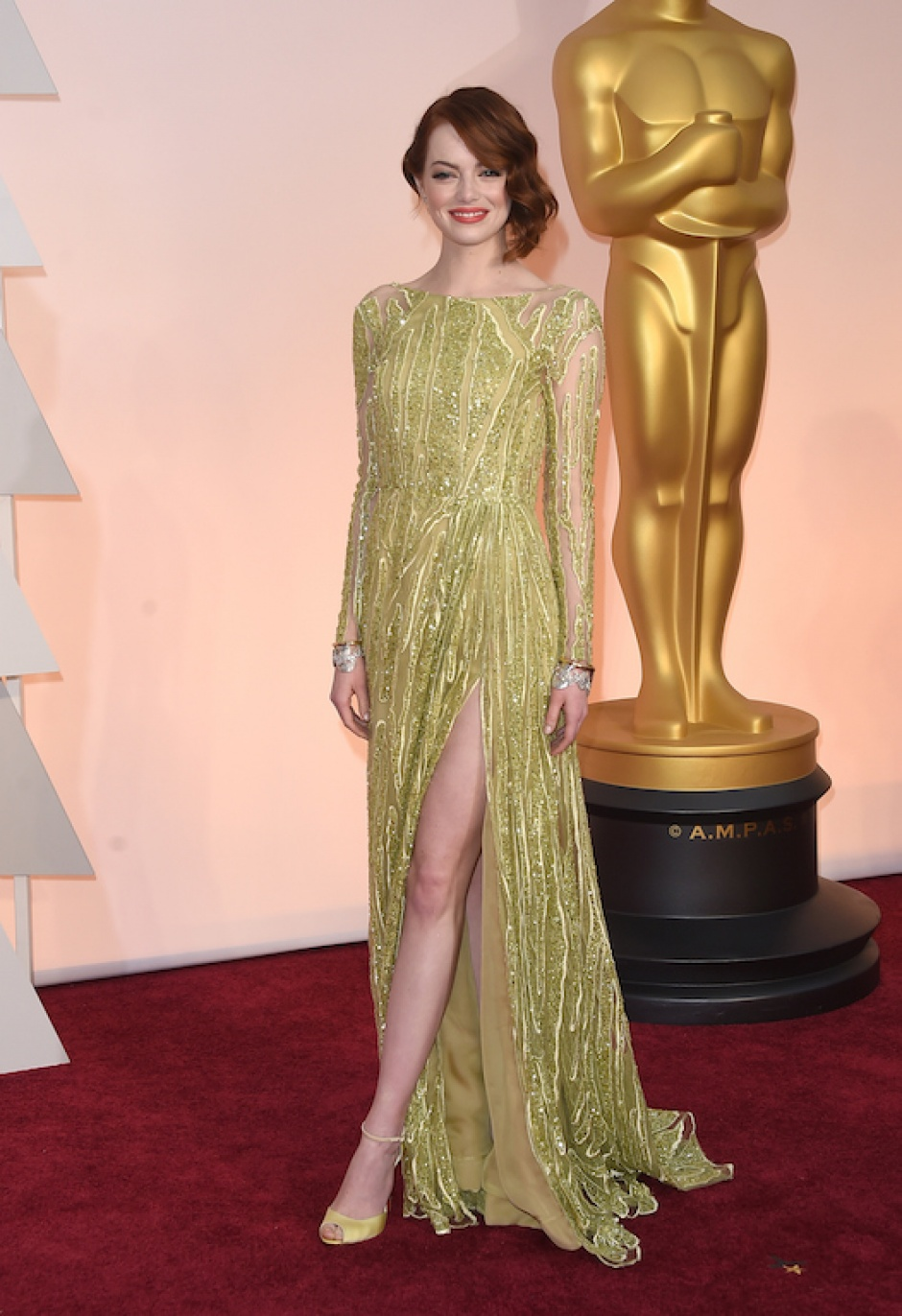 Emma Stone wearing an Elie Saab Couture gown at the 2015 Oscars