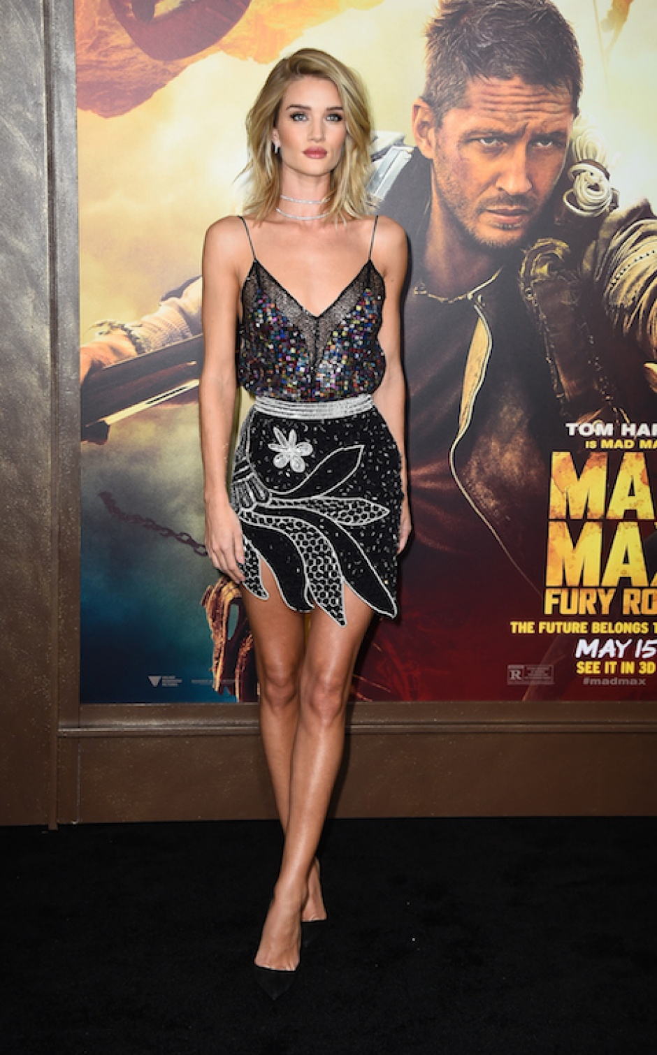 Rosie Huntington-Whiteley wearing a Rodarte dress at the 'Mad Max: Fury Road' premiere