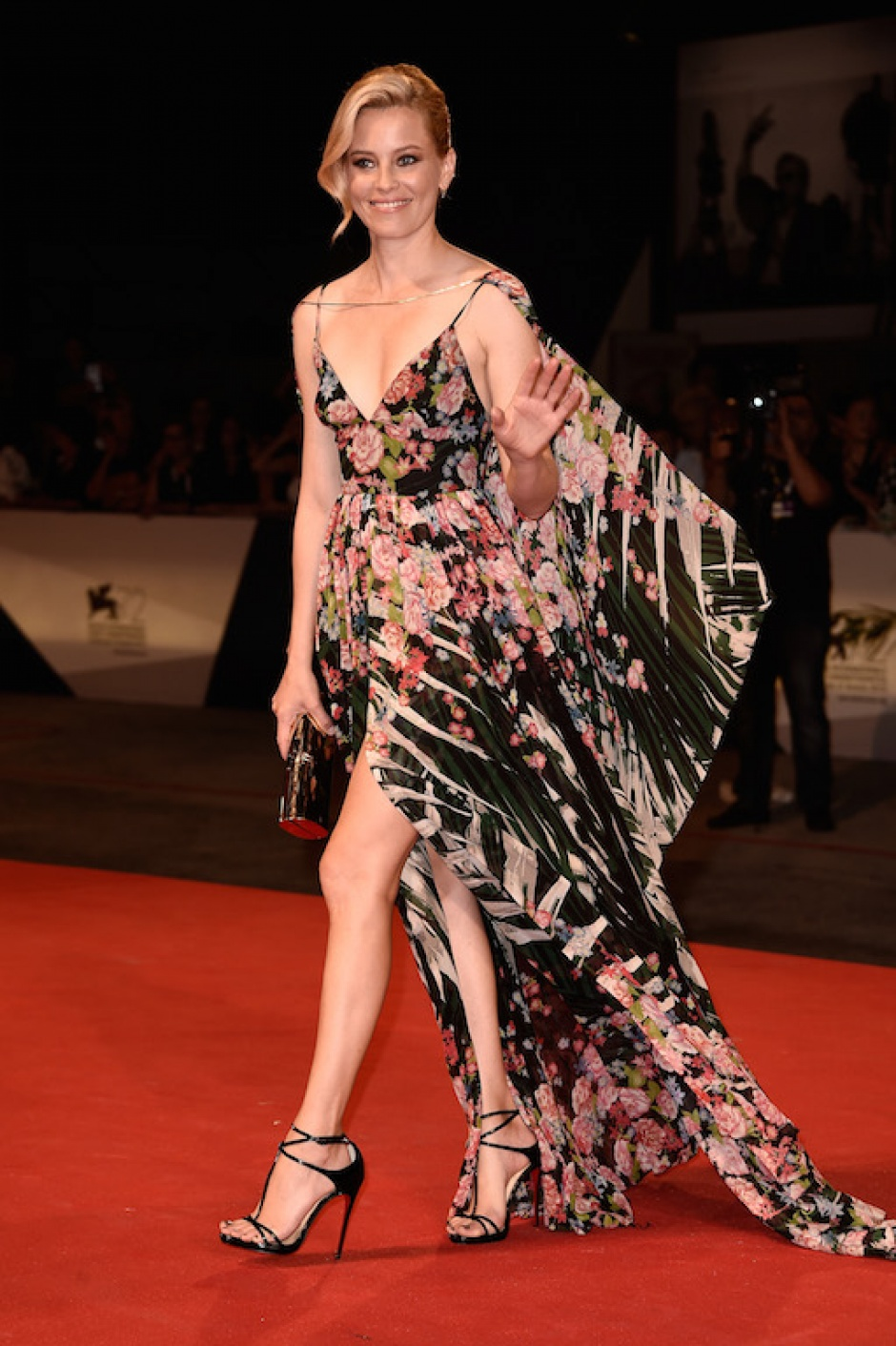 Elizabeth Banks wearing an Elie Saab gown at the 72nd Venice Film Festival