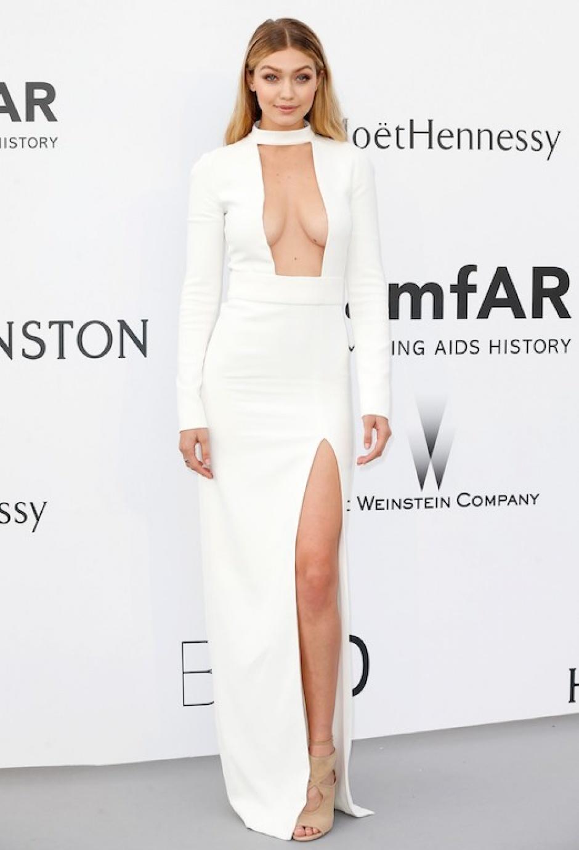 Gigi Hadid wearing a Tom Ford dress at the amfAR gala