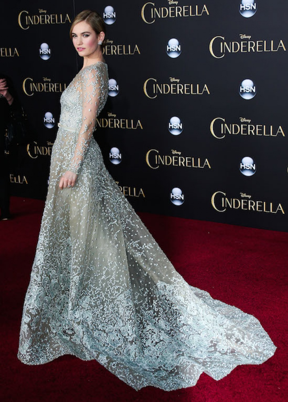 Lily James wearing an Elie Saab Couture gown at the Cinderella premiere