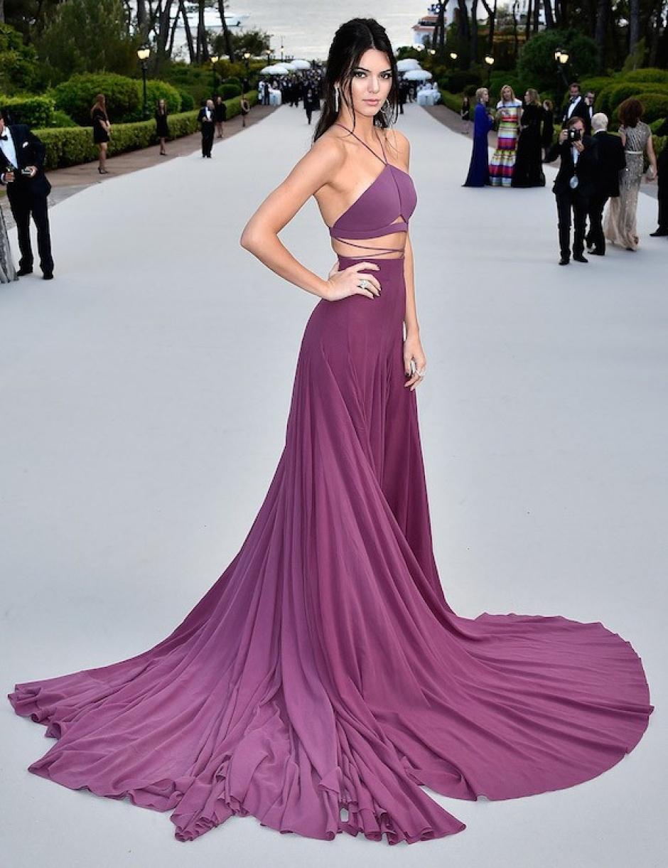 Kendall Jenner wearing a purple Calvin Klein dress at the amfAR gala